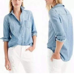 J Crew always chambray Denim Pocket Shirt Top